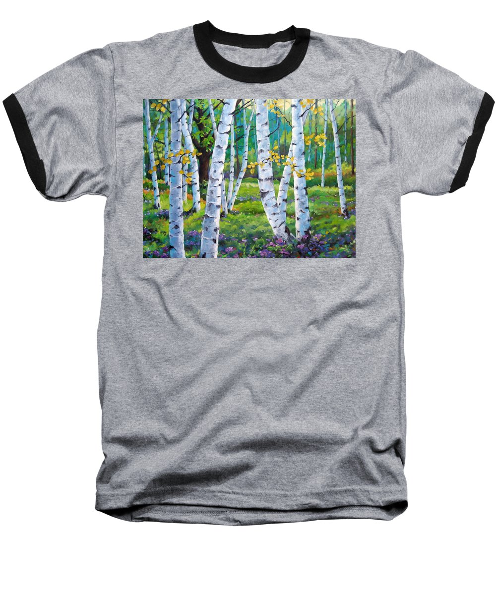 Birche; Birches; Tree; Trees; Nature; Landscape; Landscapes Scenic; Richard T. Pranke; Canadian Artist Painter Baseball T-Shirt featuring the painting Alpine Flowers And Birches by Richard T Pranke