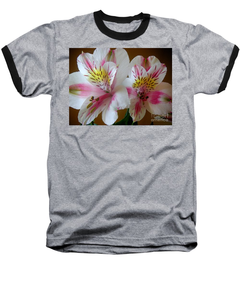Nature Baseball T-Shirt featuring the photograph Alstroemerias - Heralding by Lucyna A M Green