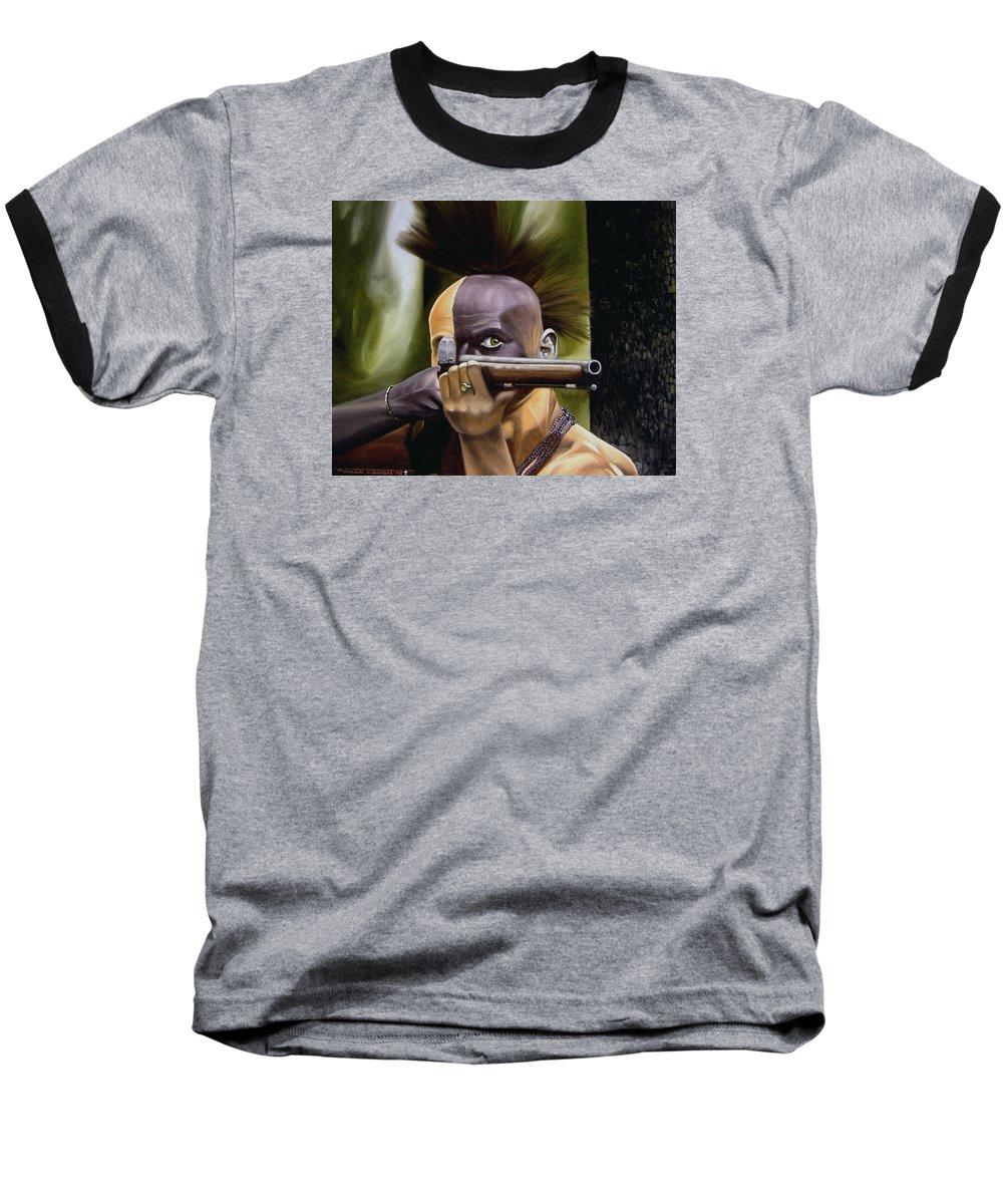 Indian Baseball T-Shirt featuring the painting Ambush by Marc Stewart