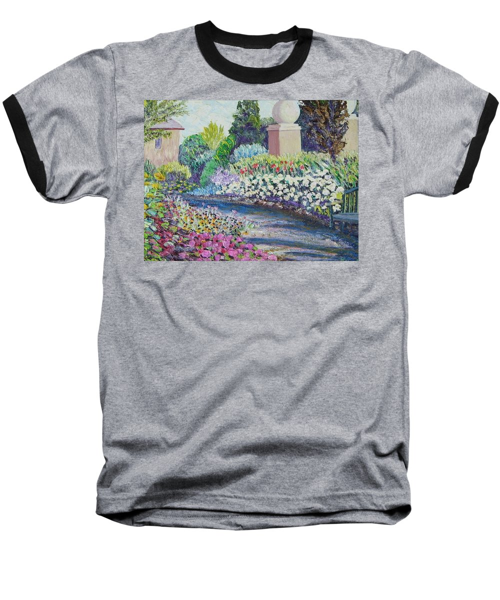 Flowers Baseball T-Shirt featuring the painting Amelia Park Pathway by Richard Nowak