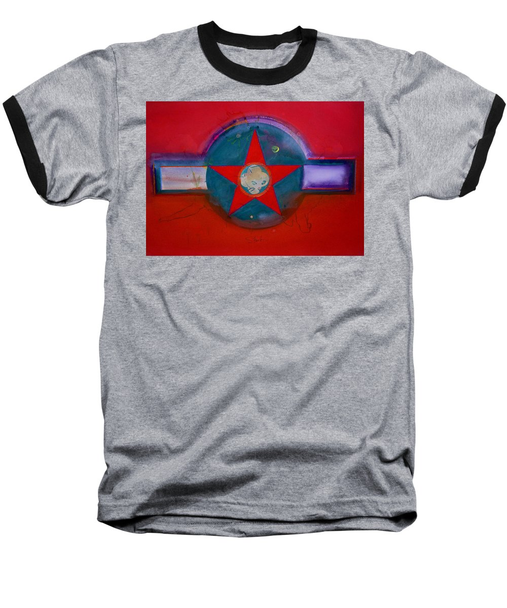 Star Baseball T-Shirt featuring the painting American Chinoiserie Cat by Charles Stuart
