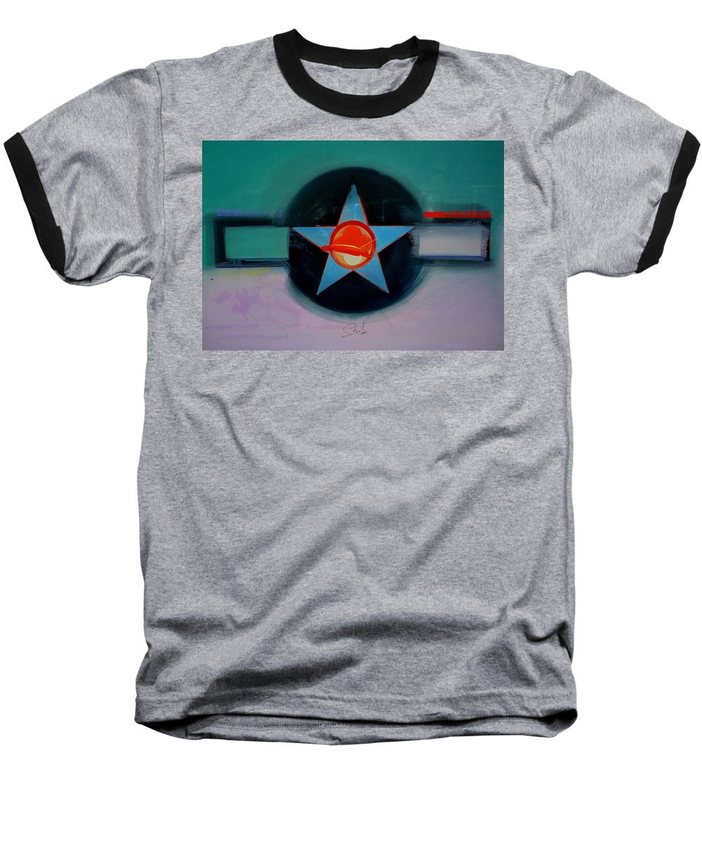 Star Baseball T-Shirt featuring the painting American Landscape by Charles Stuart
