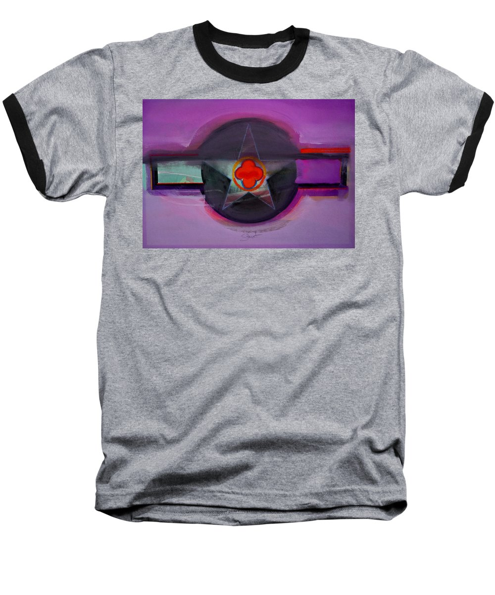 Star Baseball T-Shirt featuring the painting American Lilac by Charles Stuart