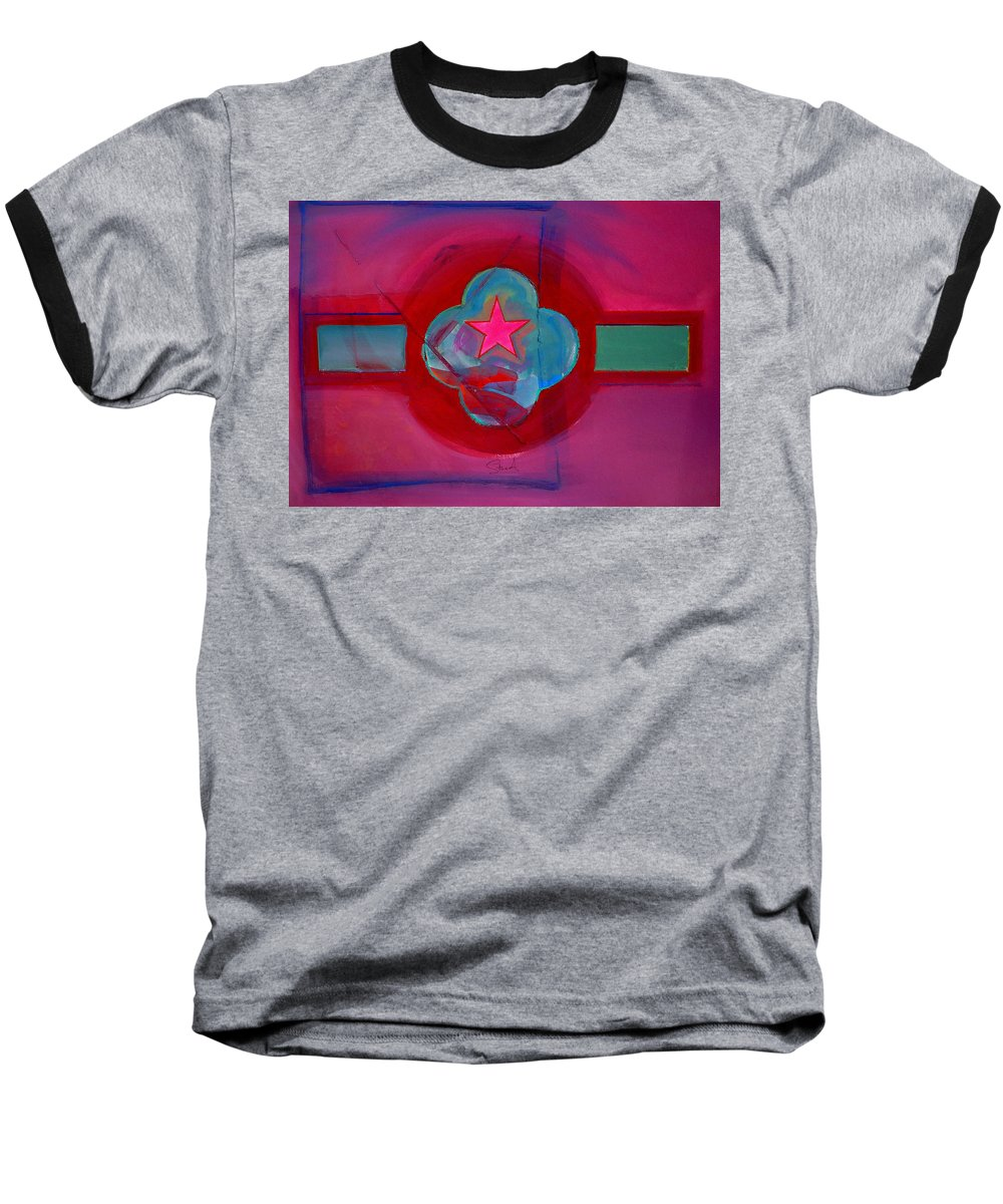Star Baseball T-Shirt featuring the painting American Spiritual Decal by Charles Stuart