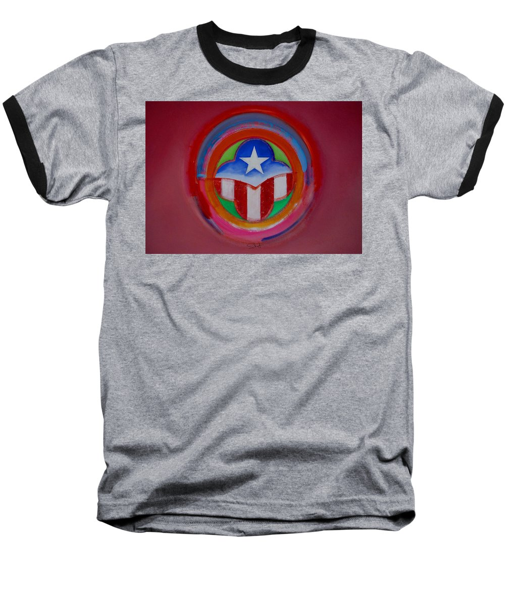 Button Baseball T-Shirt featuring the painting American Star Button by Charles Stuart