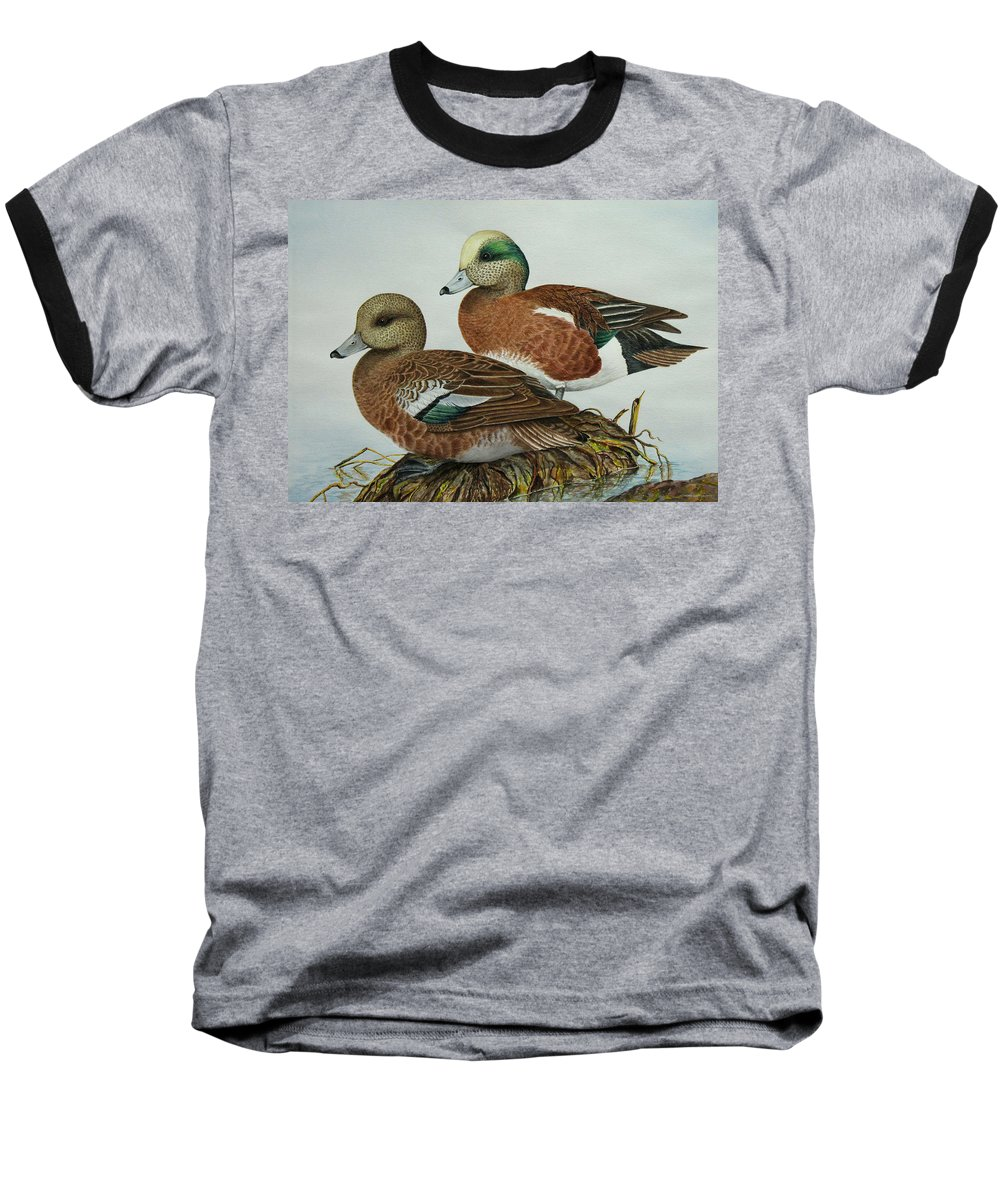 Ducks Baseball T-Shirt featuring the painting American Widgeons by Elaine Booth-Kallweit
