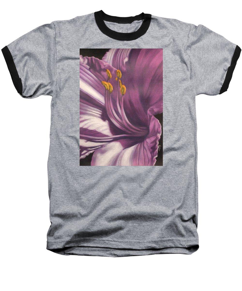 Floral Baseball T-Shirt featuring the mixed media Amethyst by Barbara Keith