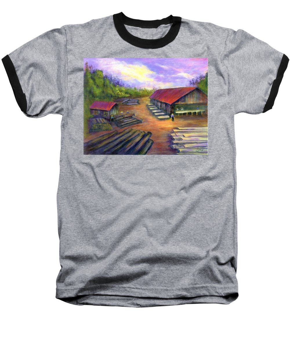 Amish Baseball T-Shirt featuring the painting Amish Lumbermill by Gail Kirtz