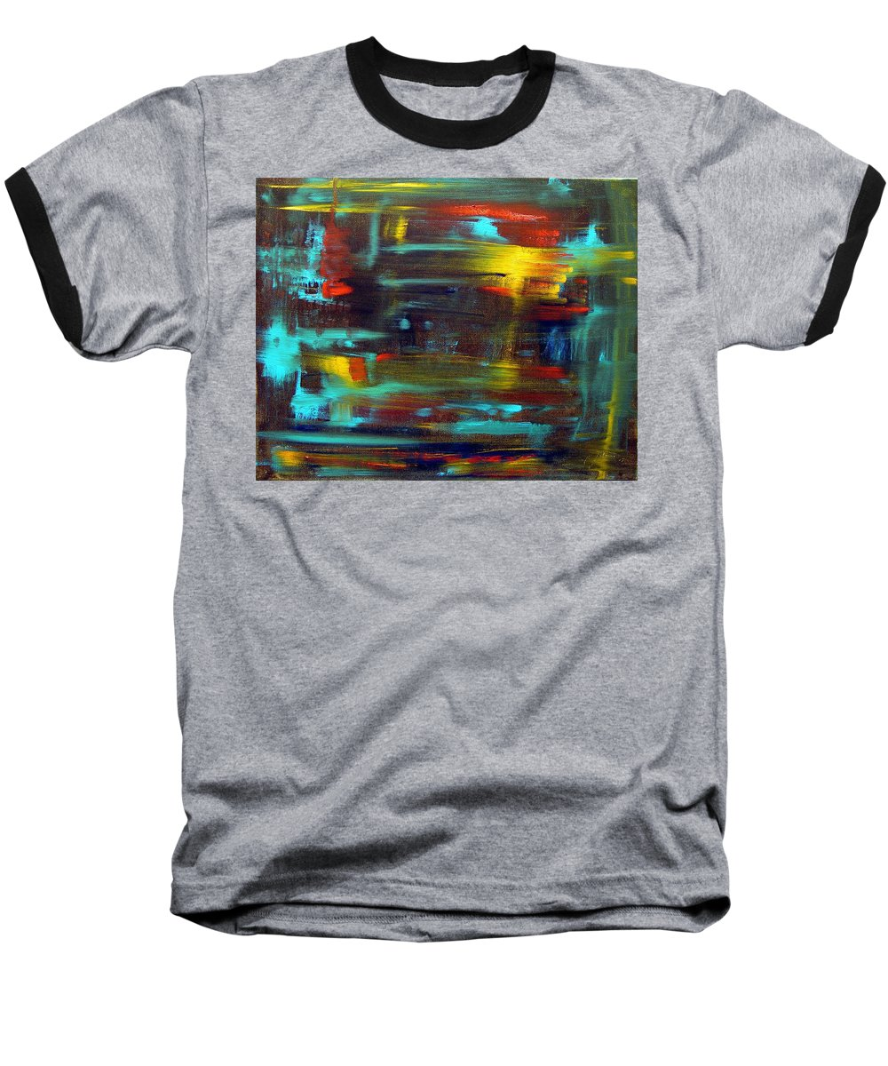 Red Blue Yellow Gold Brown Cad Orange Eyes Obama Oscar  Face Thought Emotions Baseball T-Shirt featuring the painting An Abstract Thought by Jack Diamond