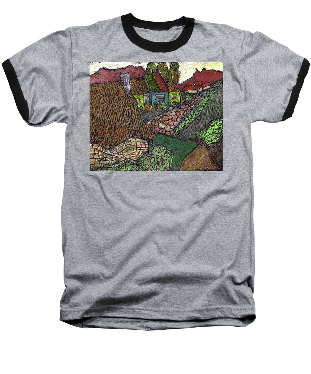 Ancient Village Baseball T-Shirt featuring the painting Ancient Village by Wayne Potrafka