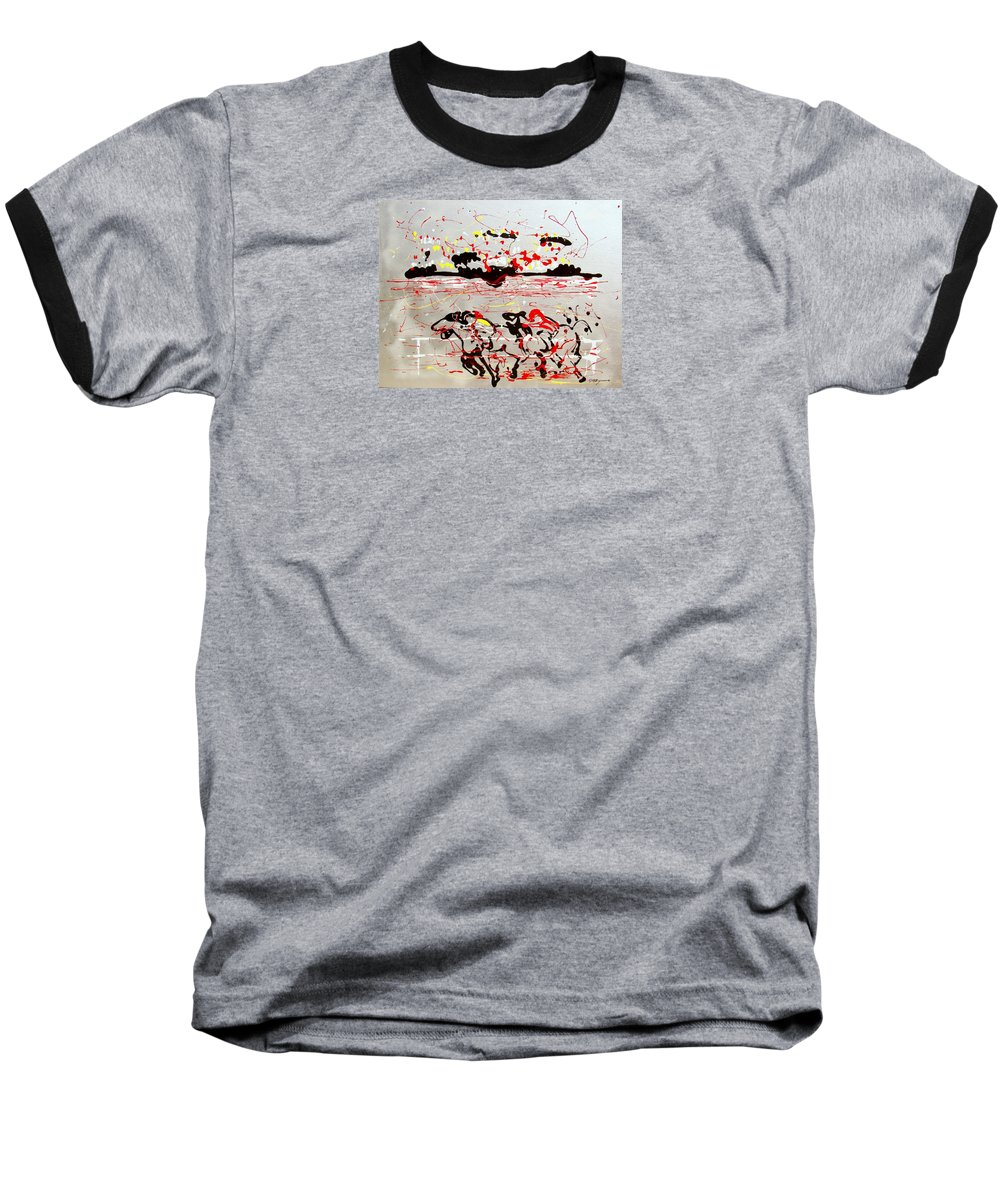 Abstract Baseball T-Shirt featuring the mixed media And Down The Stretch They Come by J R Seymour