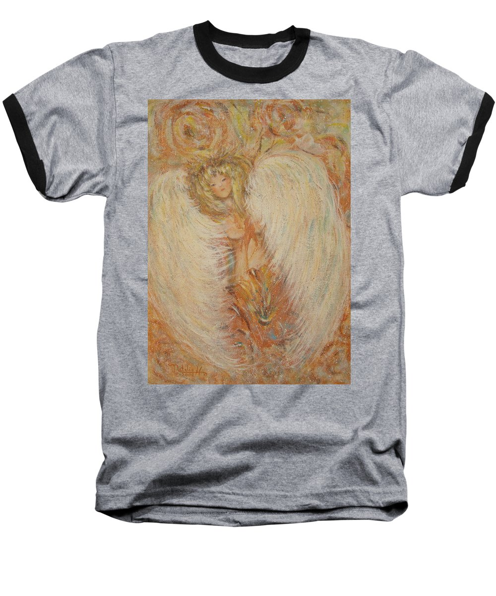 Angel Baseball T-Shirt featuring the painting Angel Loves You by Natalie Holland