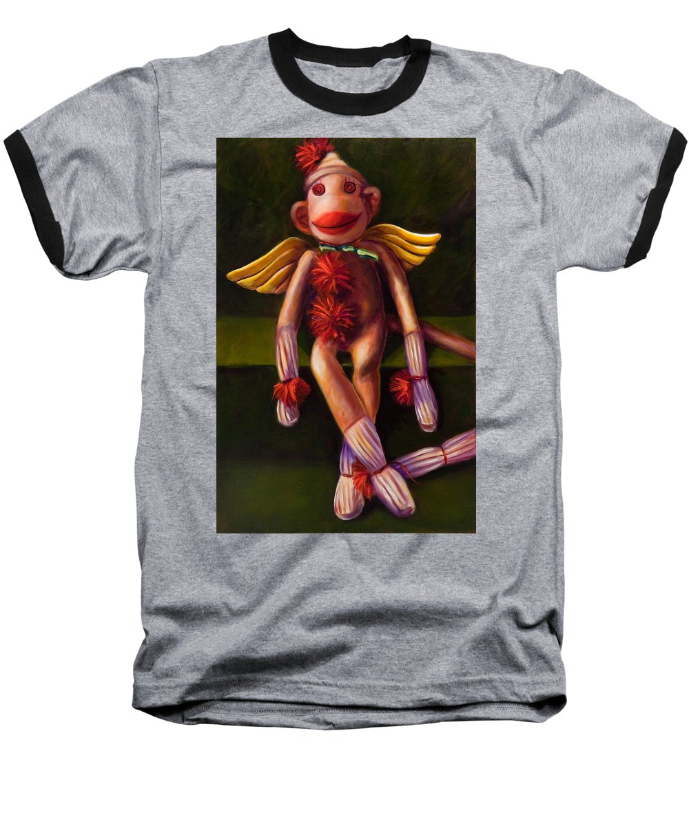 Sock Monkey Angel Baseball T-Shirt featuring the painting Angel Made Of Sockies by Shannon Grissom