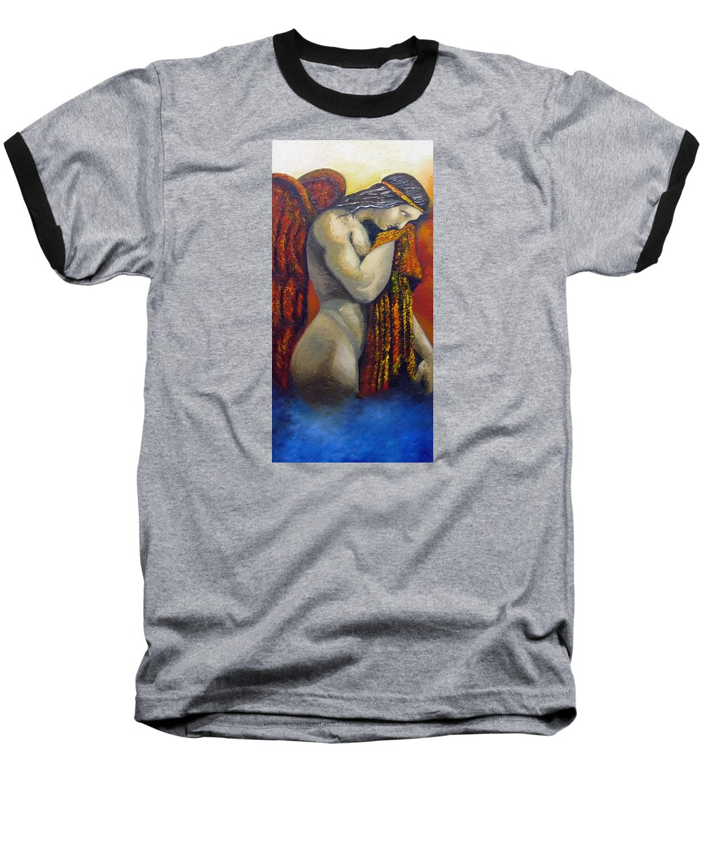 Angel Baseball T-Shirt featuring the painting Angel Of Love by Elizabeth Lisy Figueroa
