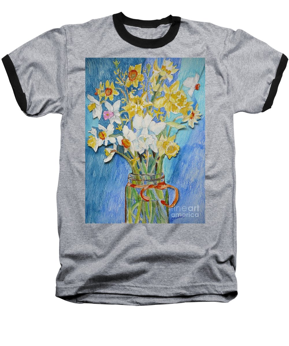 Flowers Baseball T-Shirt featuring the painting Angels Flowers by Jan Bennicoff