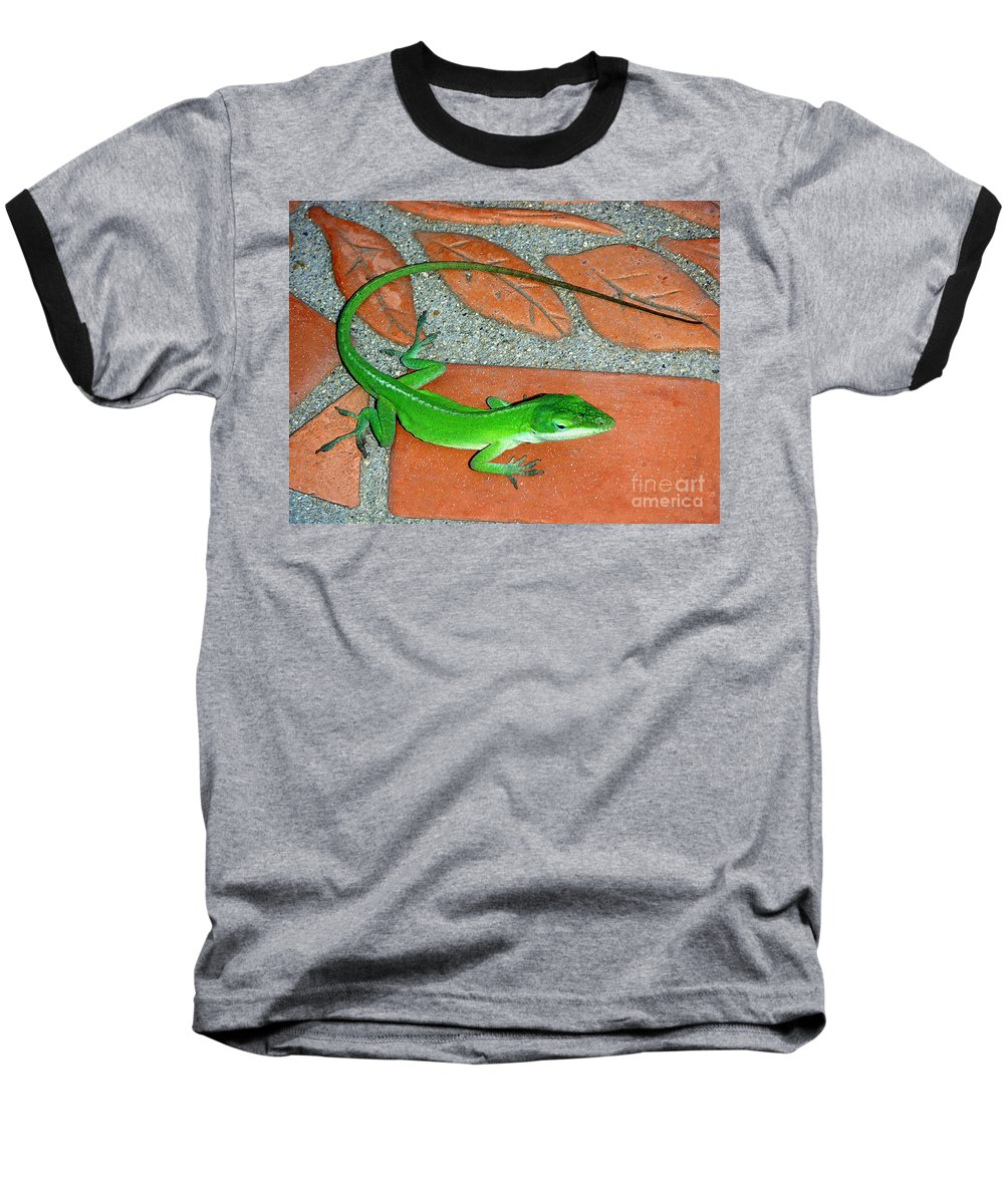 Nature Baseball T-Shirt featuring the photograph Anole On Chair Tiles by Lucyna A M Green