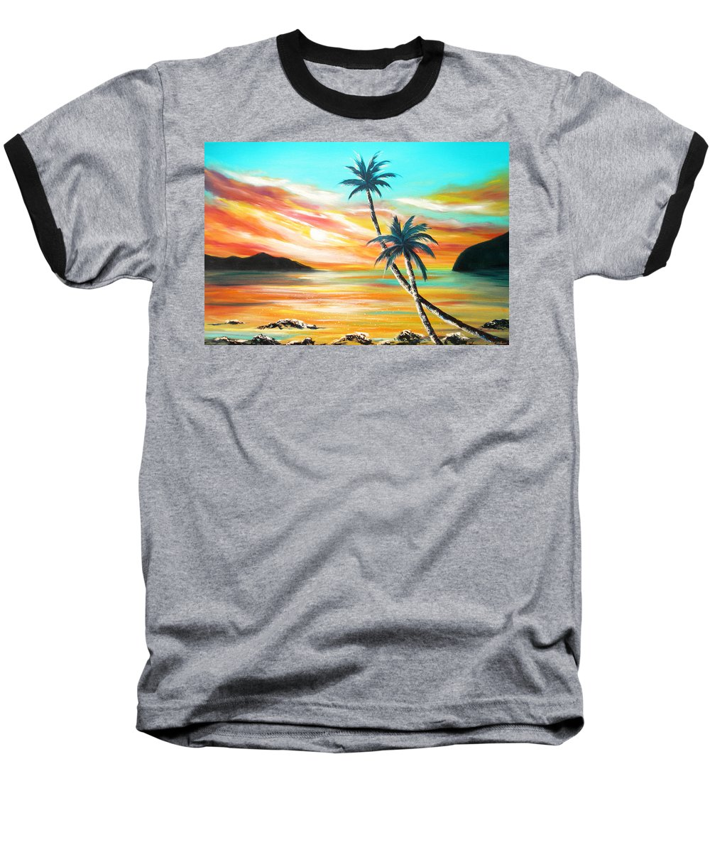 Sunset Baseball T-Shirt featuring the painting Another Sunset In Paradise by Gina De Gorna