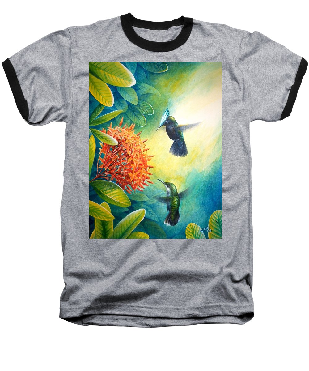 Chris Cox Baseball T-Shirt featuring the painting Antillean Crested Hummingbirds And Ixora by Christopher Cox