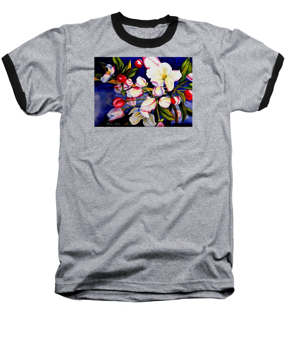 Apple Blossoms Baseball T-Shirt featuring the painting Apple Blossom Time by Karen Stark