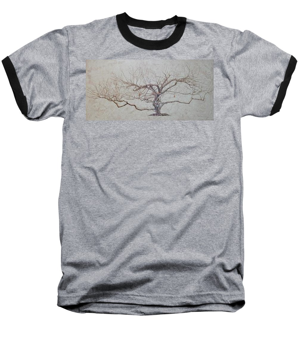 Apple Tree Baseball T-Shirt featuring the painting Apple Tree In Winter by Leah Tomaino