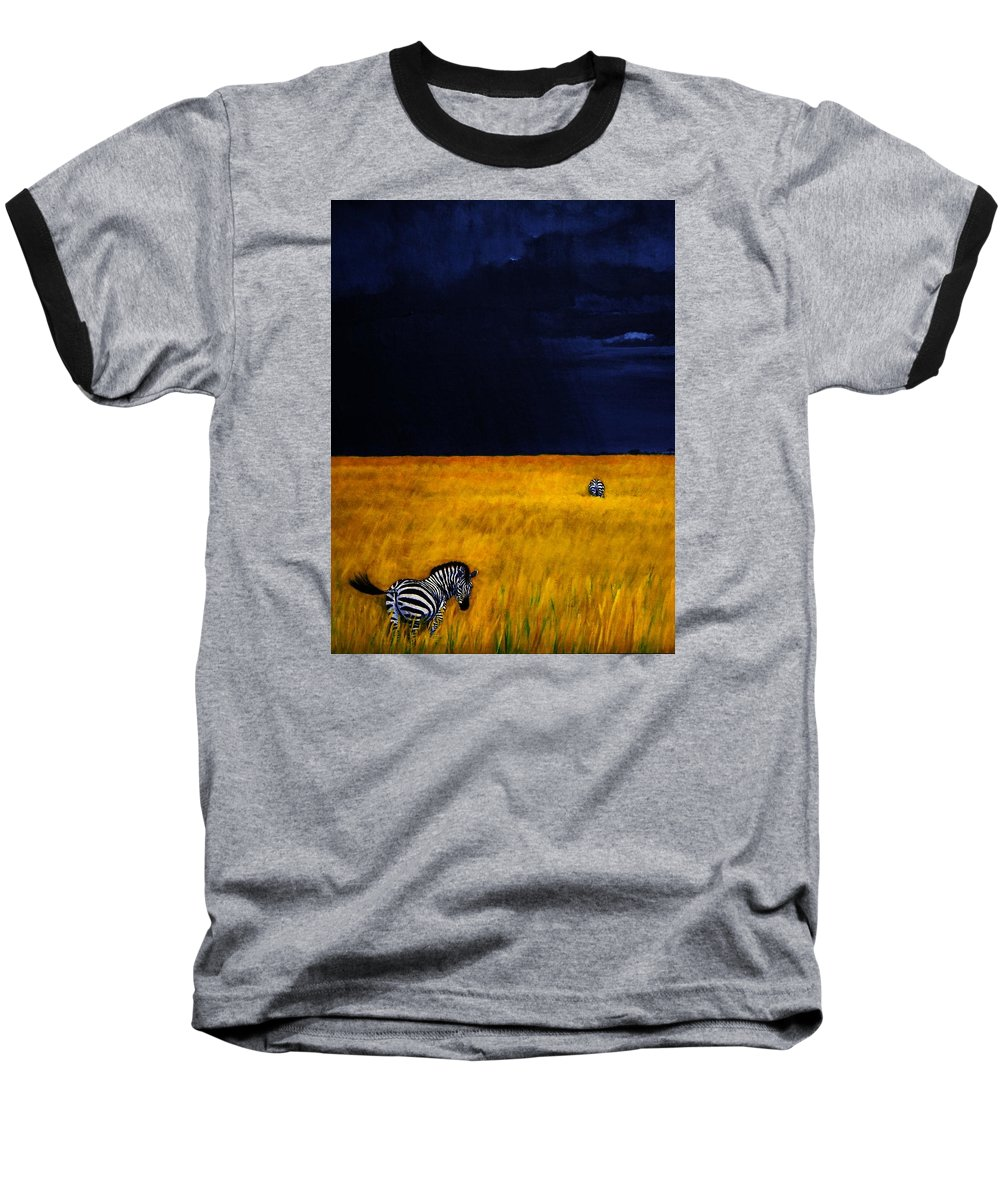 African Landscape Zebra Storm Clouds Edith Peterson Watson Scenery Nature Animals Wildlife Baseball T-Shirt featuring the painting Approaching Storm by Edith Peterson-Watson