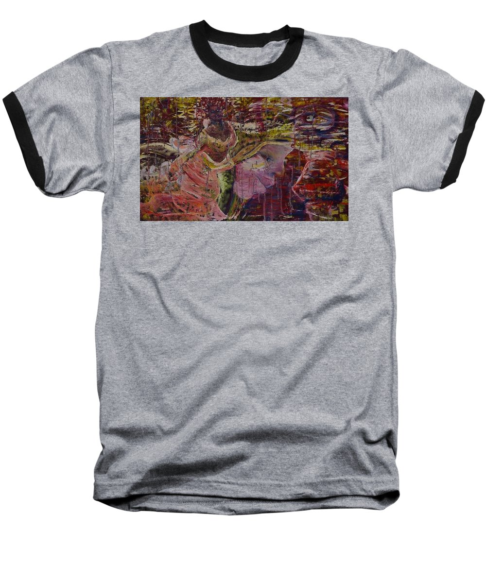 Portrait Baseball T-Shirt featuring the painting April 29th. by Peggy Blood