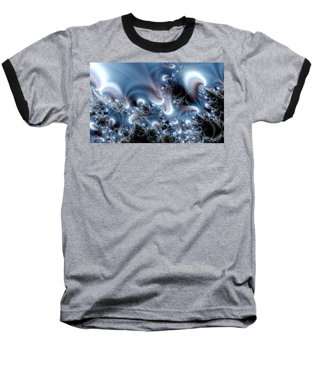 Water Bubbles Blue Nature Flow Baseball T-Shirt featuring the digital art Aquafractal by Veronica Jackson
