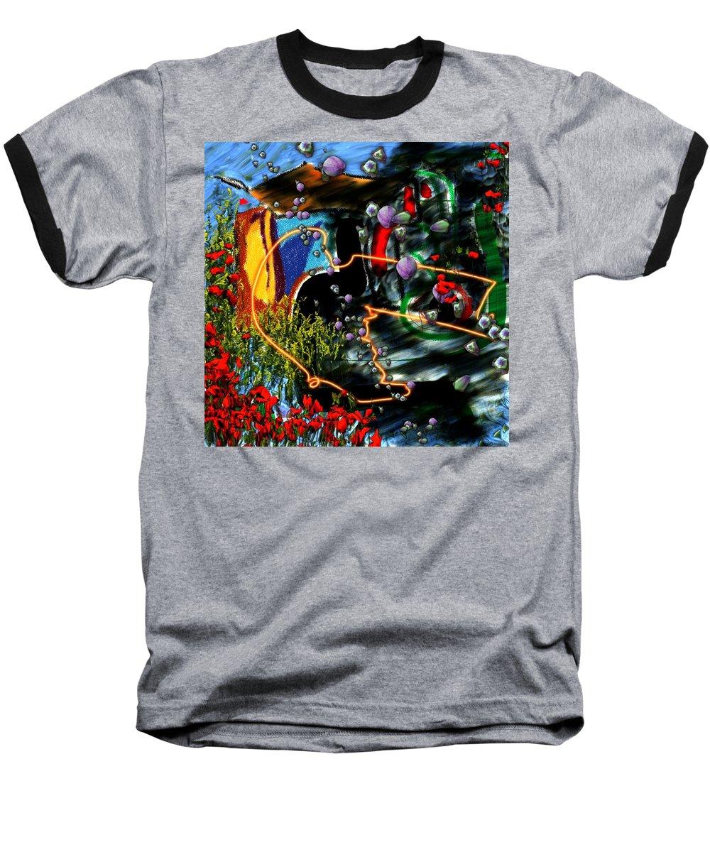 Ocean Water Deep Sea Nature Salad Baseball T-Shirt featuring the digital art Aquatic Salad by Veronica Jackson