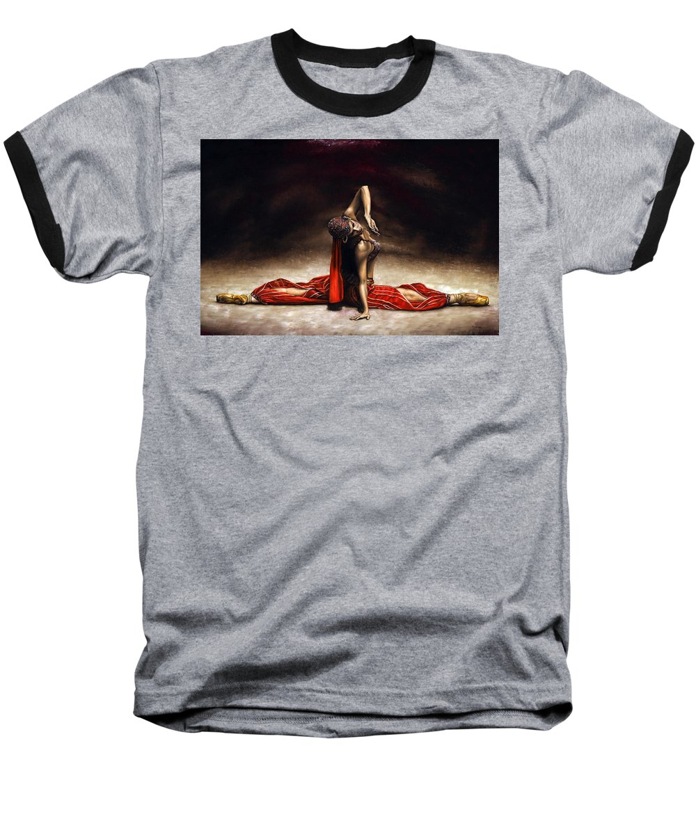 Ballerina Baseball T-Shirt featuring the painting Arabian Coffee by Richard Young