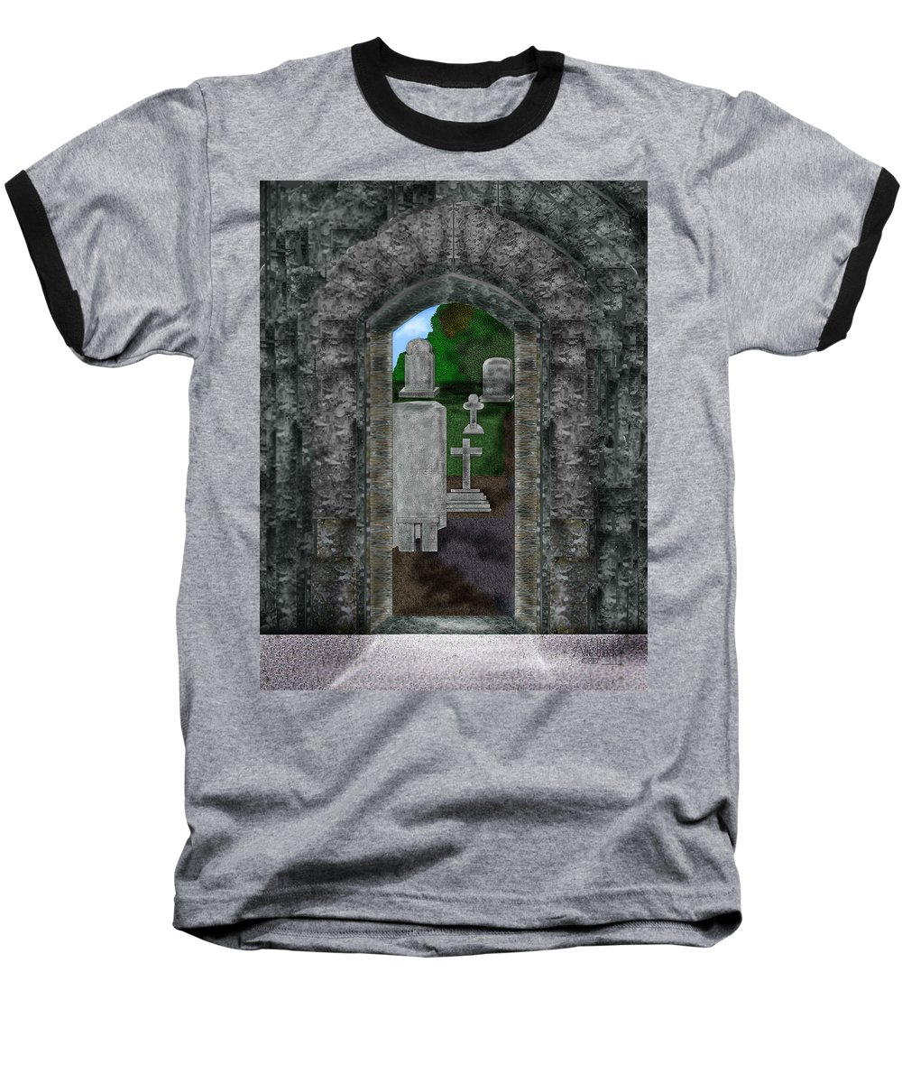 Digital Landscape Baseball T-Shirt featuring the painting Arches And Cross In Ireland by Anne Norskog