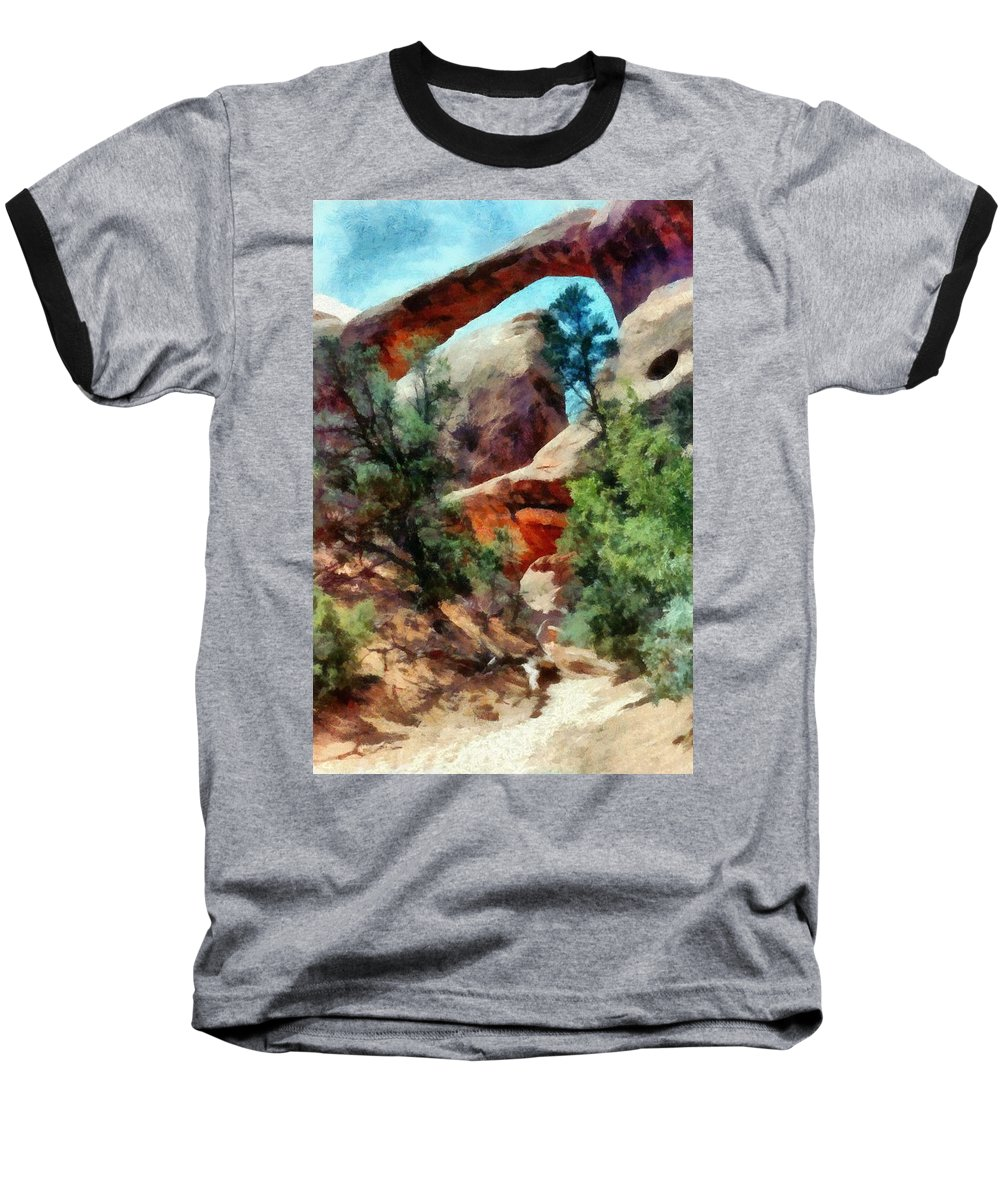 Arches National Park Baseball T-Shirt featuring the photograph Arches National Park Trail by Michelle Calkins