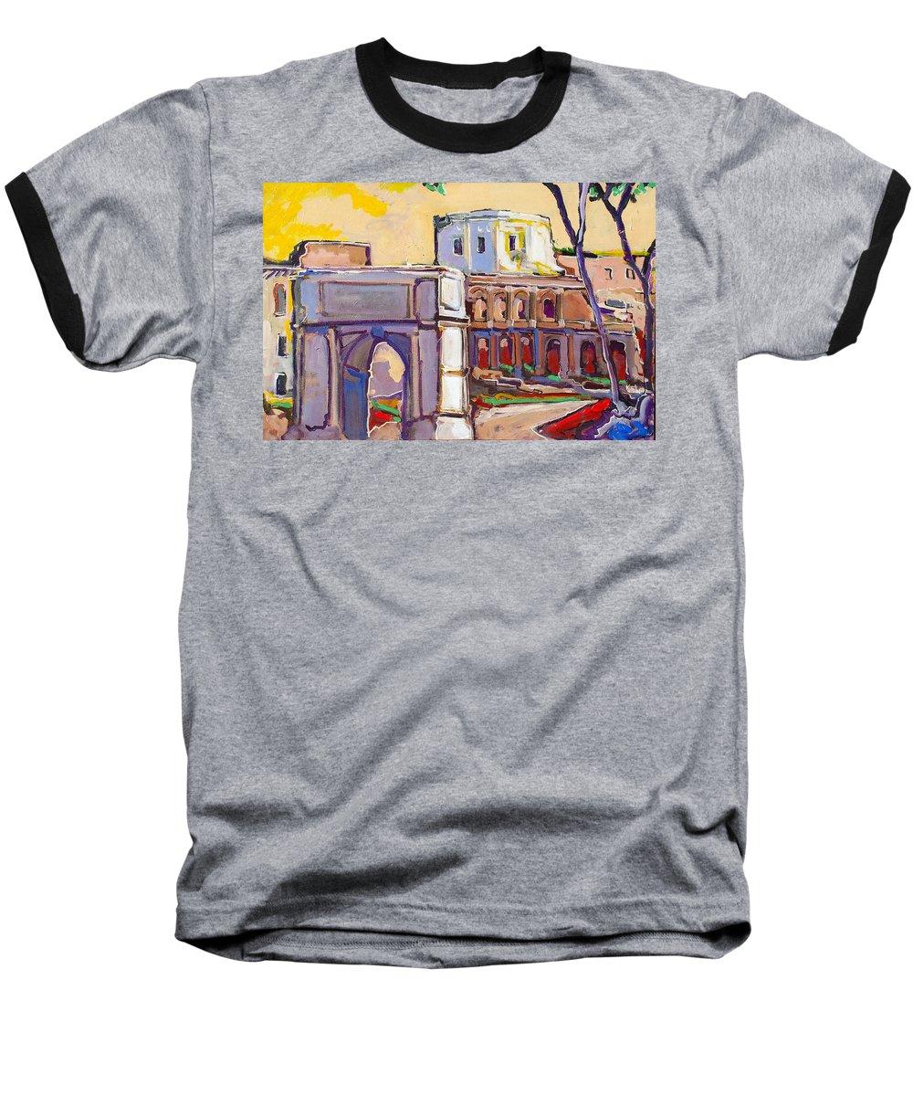 Rome Baseball T-Shirt featuring the painting Arco Di Romano by Kurt Hausmann