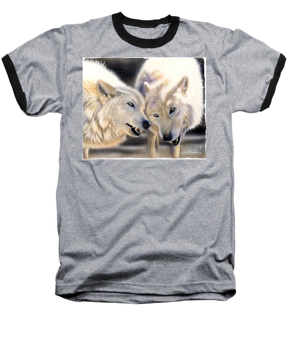 Acrylics Baseball T-Shirt featuring the painting Arctic Pair by Sandi Baker