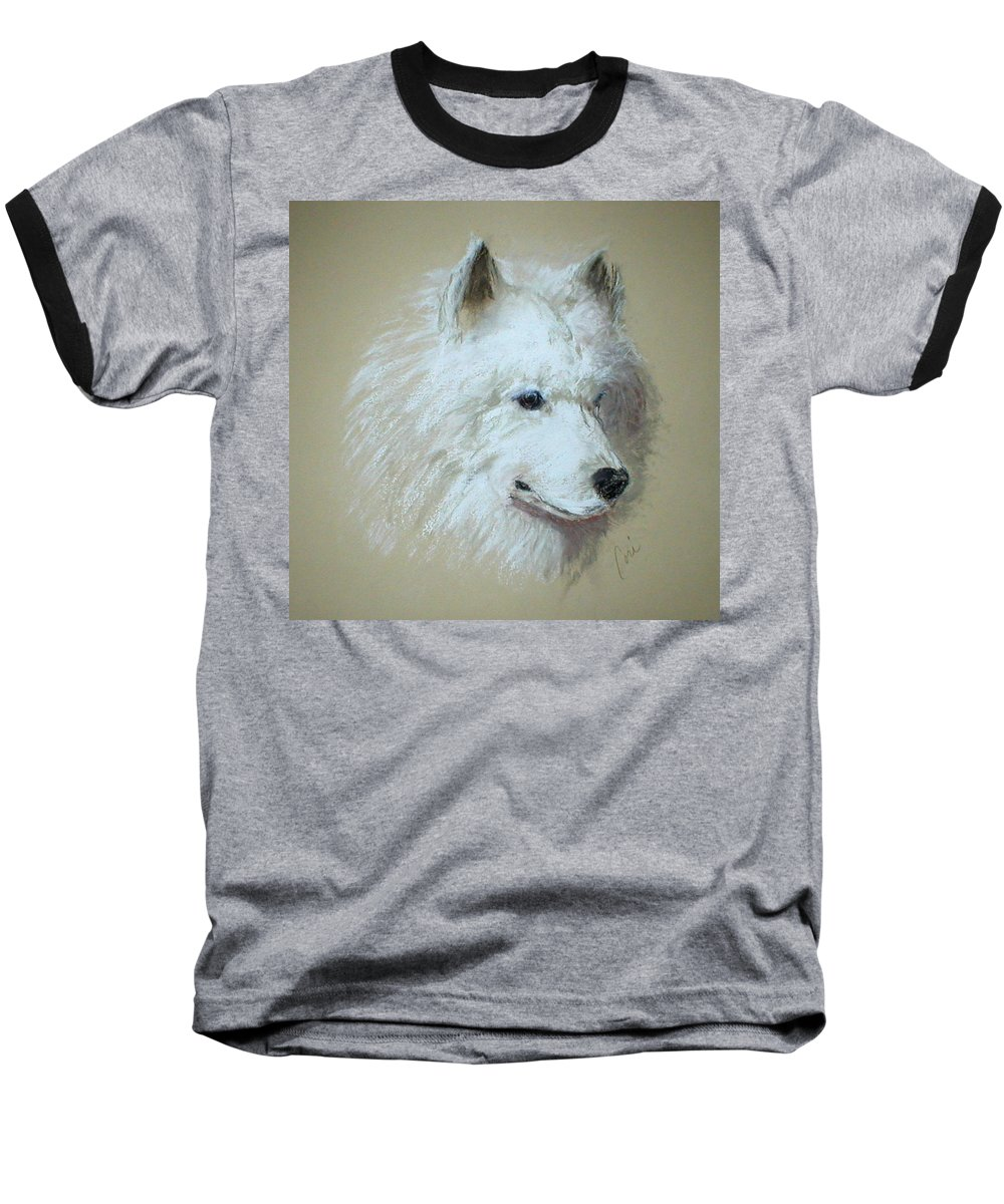 Dog Baseball T-Shirt featuring the drawing Arctic Serenity by Cori Solomon