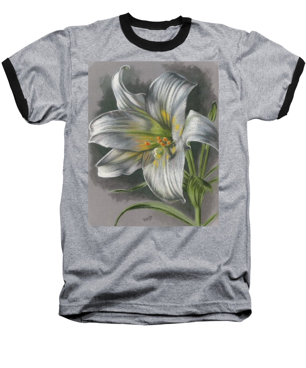 Easter Lily Baseball T-Shirt featuring the mixed media Arise by Barbara Keith