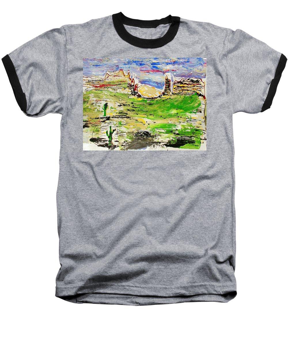 Cactus Baseball T-Shirt featuring the painting Arizona Skies by J R Seymour