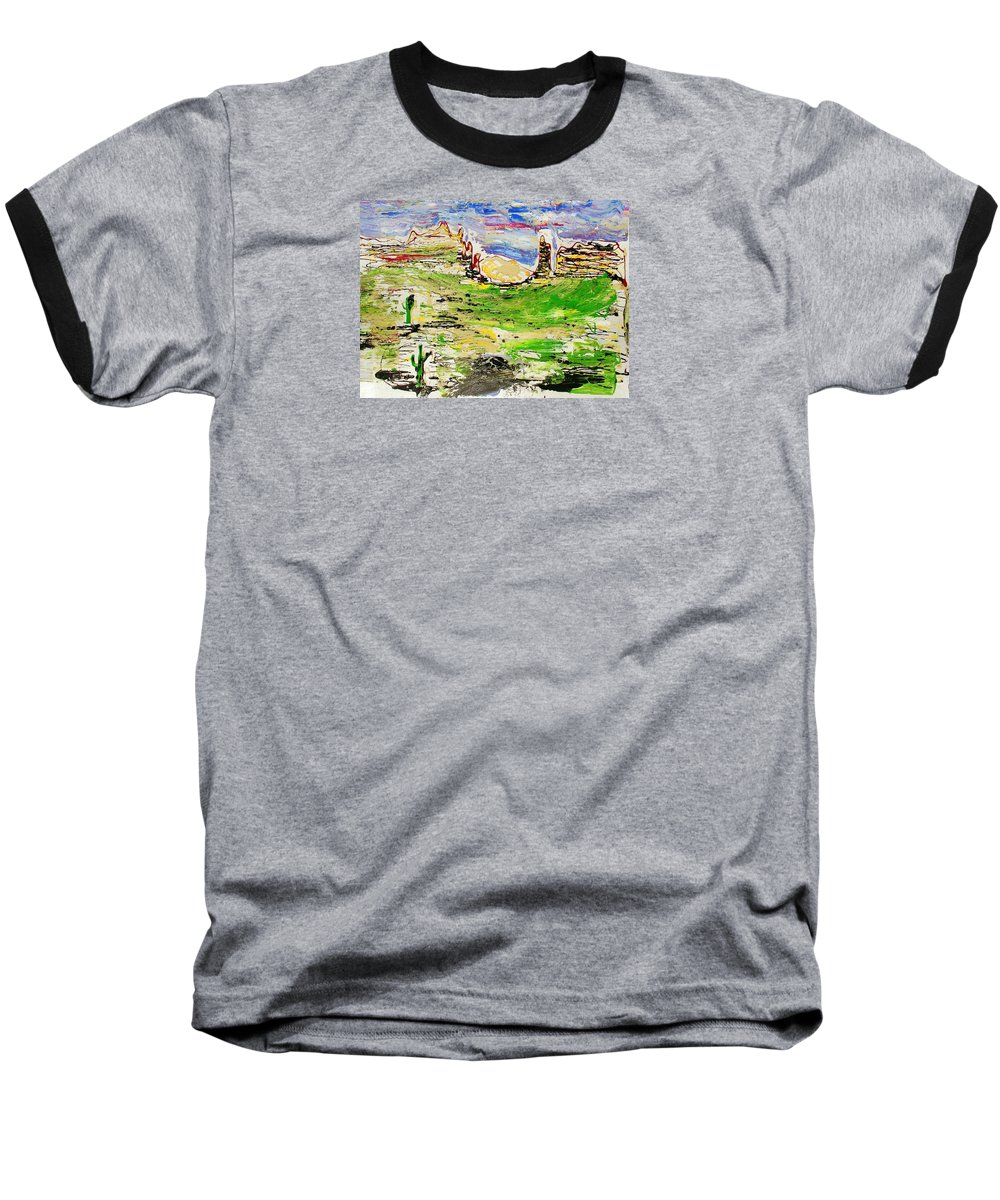 Impressionist Painting Baseball T-Shirt featuring the painting Arizona Skies by J R Seymour
