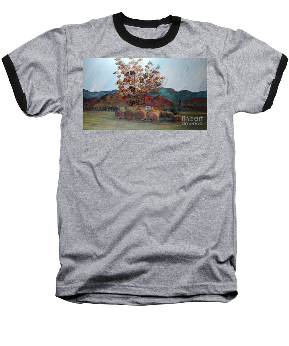 Autumn Baseball T-Shirt featuring the painting Arkansas Autumn by Nadine Rippelmeyer