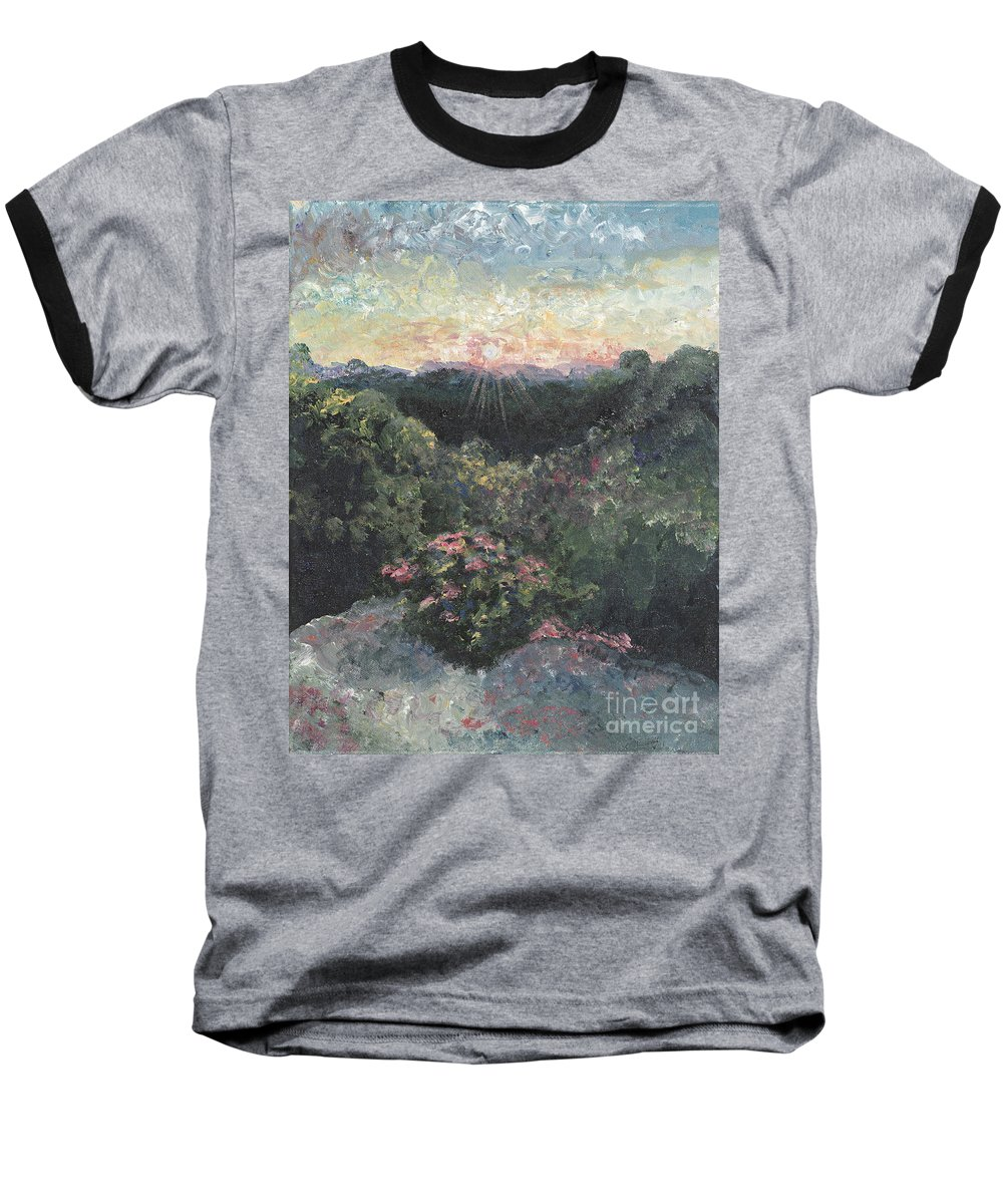 Landscape Baseball T-Shirt featuring the painting Arkansas Mountain Sunset by Nadine Rippelmeyer