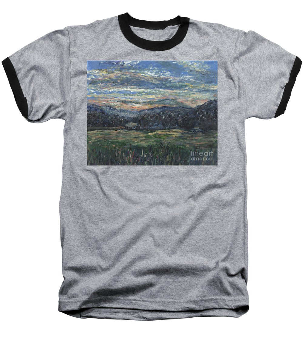 Impressionism Baseball T-Shirt featuring the painting Arkansas Sunrise by Nadine Rippelmeyer