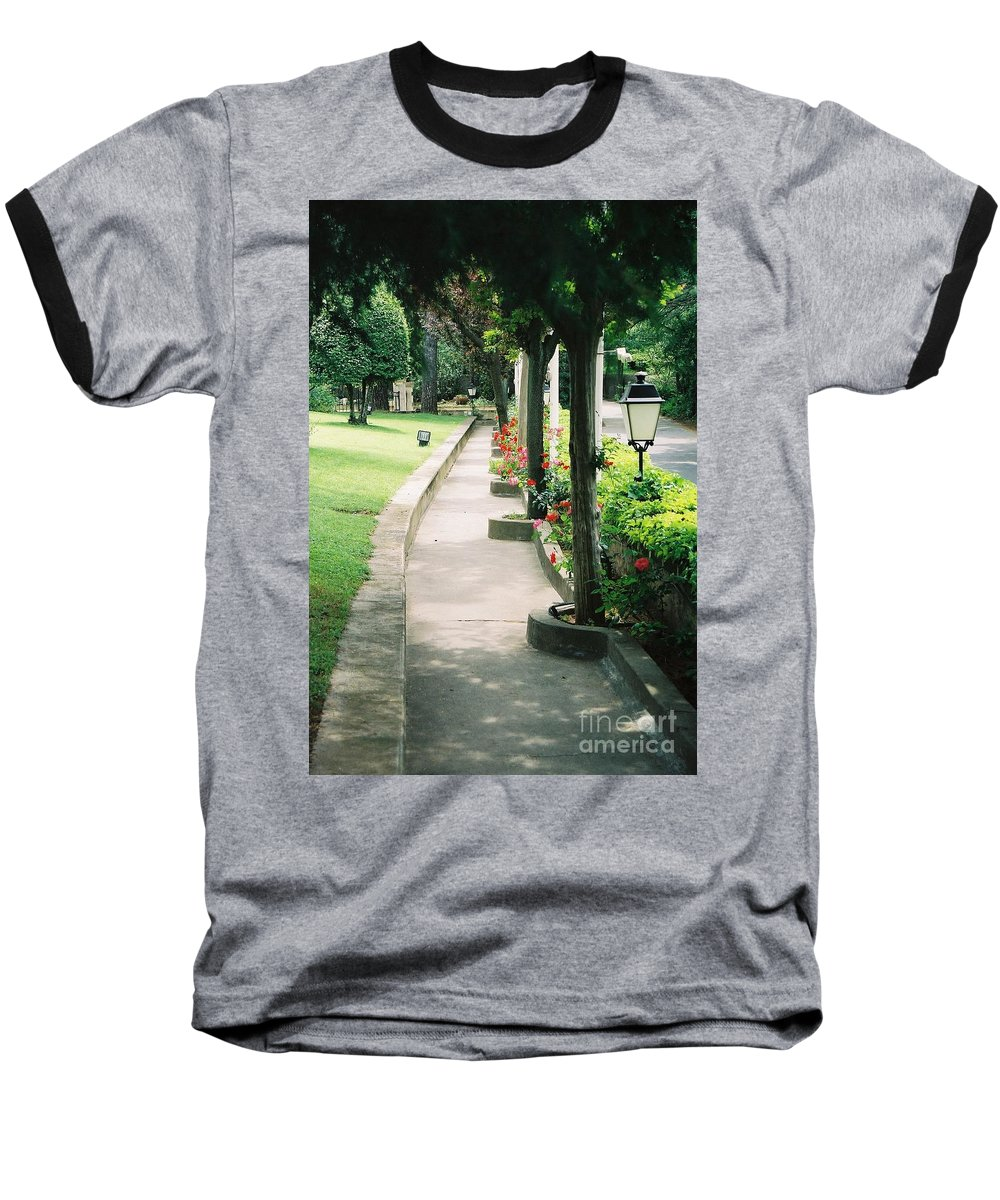 Arles Baseball T-Shirt featuring the photograph Arles Walkway by Nadine Rippelmeyer