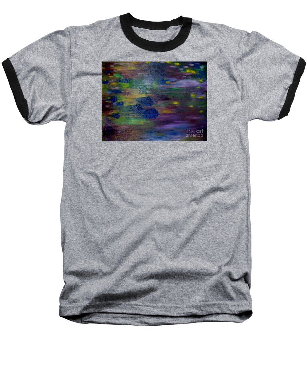 Abstract Baseball T-Shirt featuring the painting Around The Worlds by Laurie Morgan