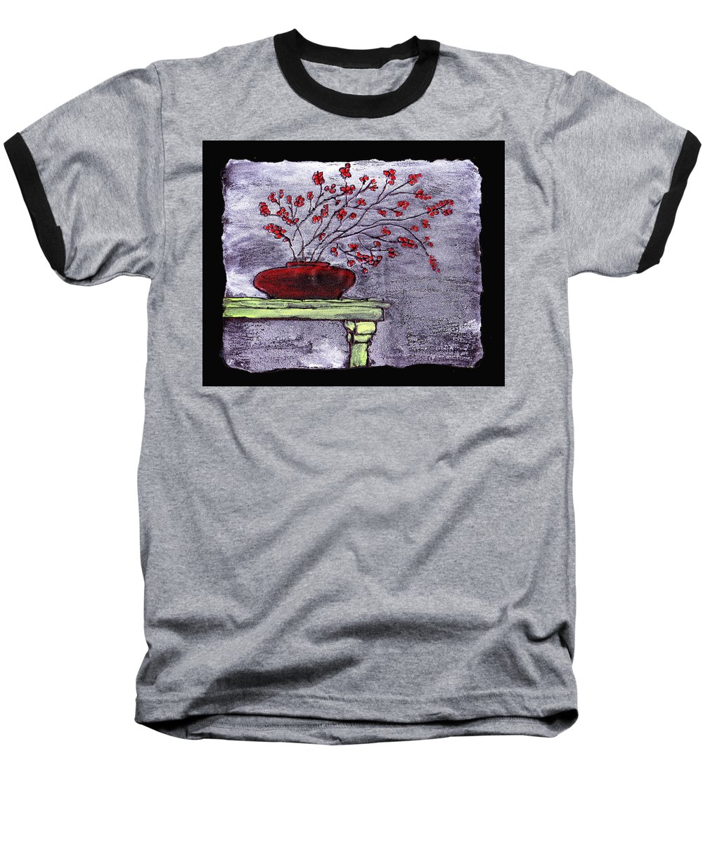 Flower Baseball T-Shirt featuring the painting Arrangement In Red by Wayne Potrafka