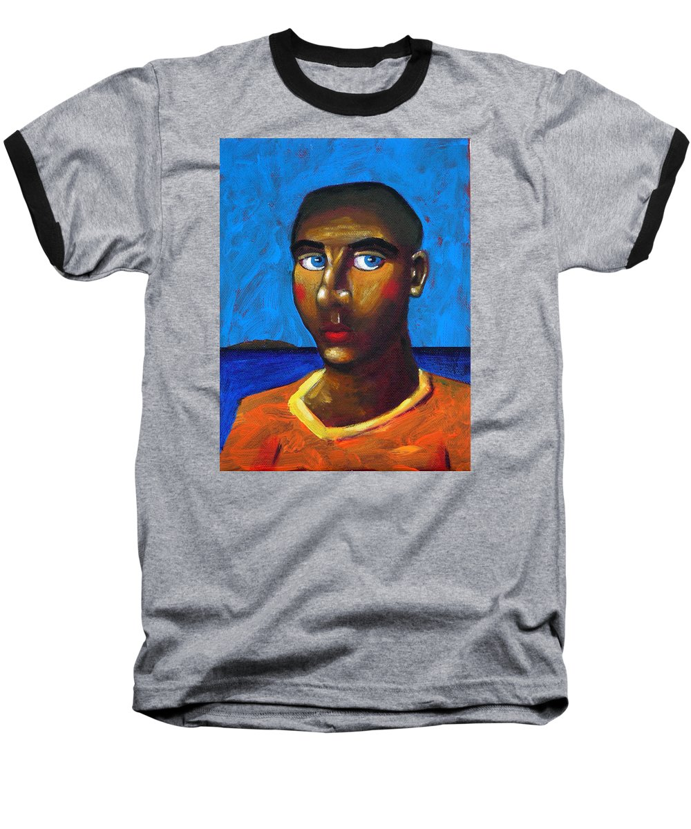 Arsonist Baseball T-Shirt featuring the painting Arsonist by Dimitris Milionis