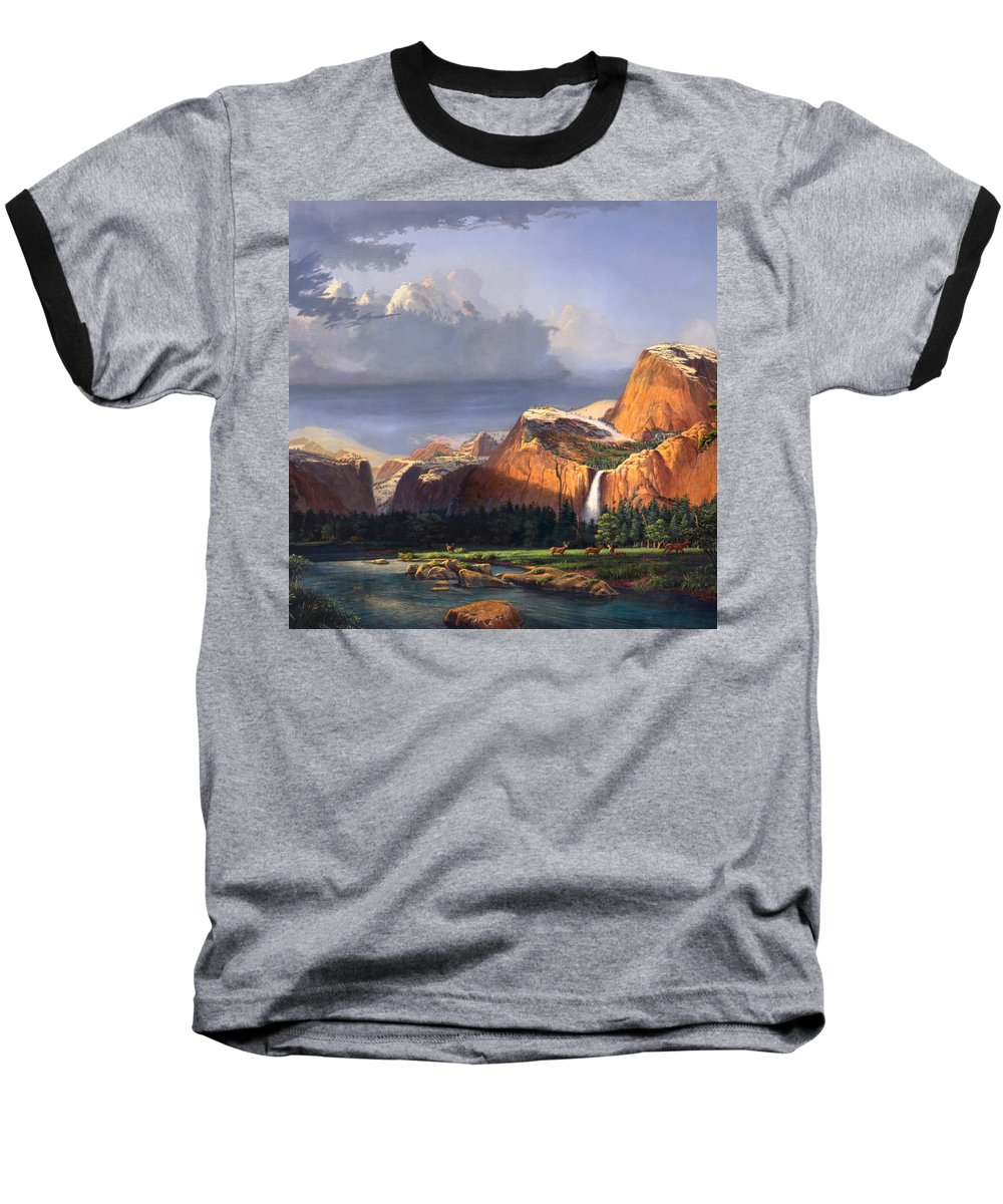 American Baseball T-Shirt featuring the painting Deer Meadow Mountains Western Stream Deer Waterfall Landscape Oil Painting Stormy Sky Snow Scene by Walt Curlee