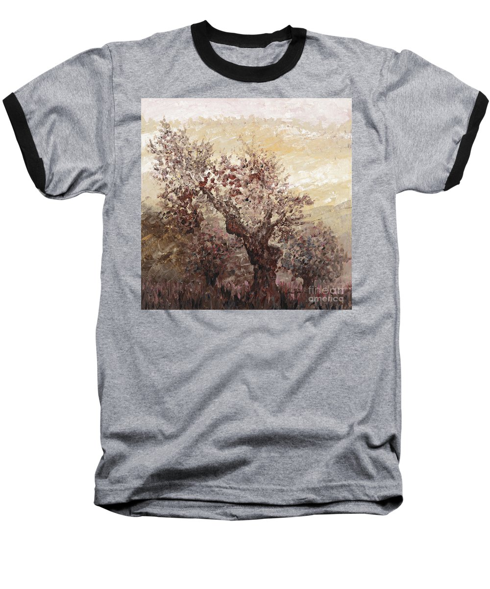 Landscape Baseball T-Shirt featuring the painting Asian Mist by Nadine Rippelmeyer