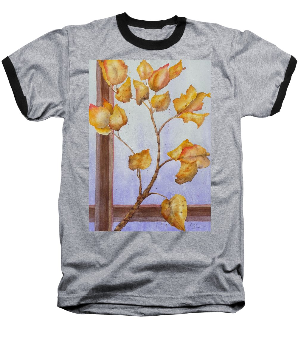 Leaves Baseball T-Shirt featuring the painting Aspen by Ruth Kamenev