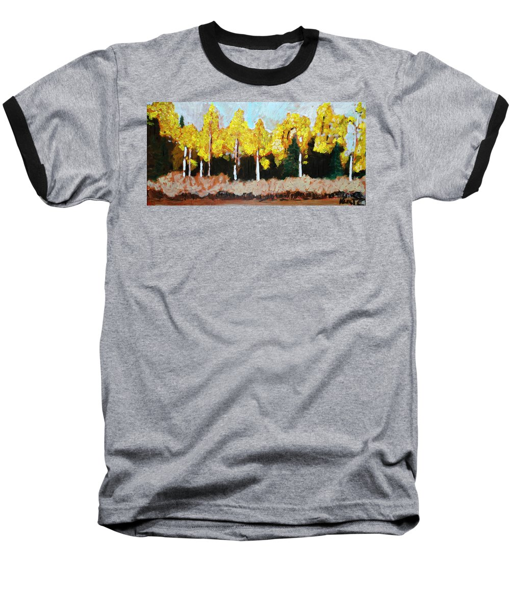 Fall Baseball T-Shirt featuring the painting Aspens by Kurt Hausmann