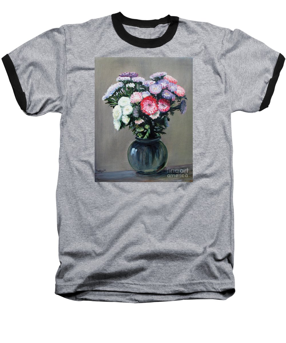 Flowers Baseball T-Shirt featuring the painting Asters by Paul Walsh