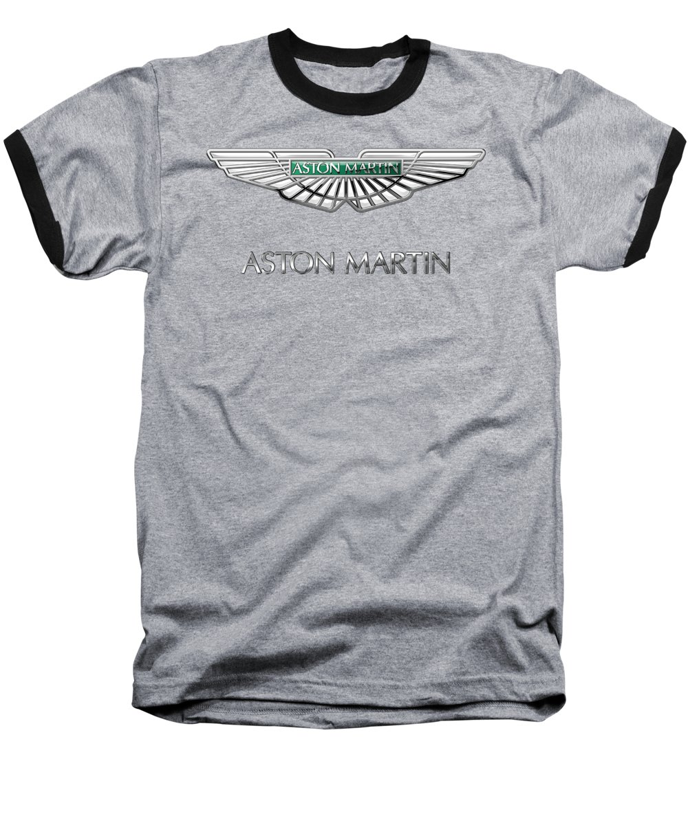 'wheels Of Fortune� Collection By Serge Averbukh Baseball T-Shirt featuring the photograph Aston Martin 3 D Badge on Black by Serge Averbukh